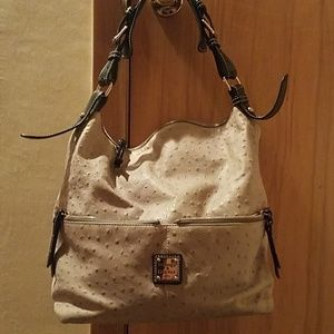 Large light gray ostrich Dooney bag